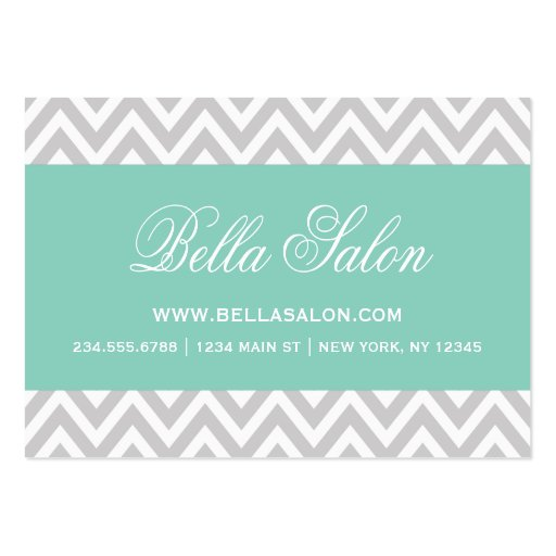Gray and Aqua Modern Chevron Stripes Large Business Cards (Pack Of 100)