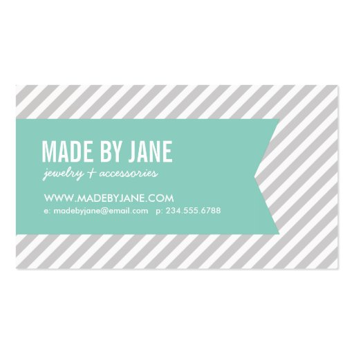 Gray and Aqua Modern Stripes and Ribbon Business Card Template