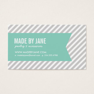 Gray and Aqua Modern Stripes and Ribbon Business Card