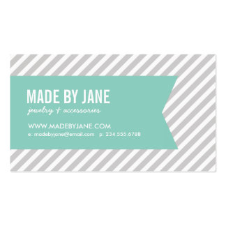 Gray and Aqua Modern Stripes and Ribbon Double-Sided Standard Business Cards (Pack Of 100)