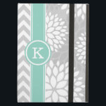 "Gray and Aqua Monogram Chevron and Floral iPad Air Case<br><div class=""desc"">Cute girly mixed pattern design with preppy zigzag chevron stripes and modern chrysanthemum flowers. Contrasting rugby stripe ribbon with your personalized monogram initial in a circle frame. Click Customize It to change monogram font and color to create your own unique one of a kind design.</div>"