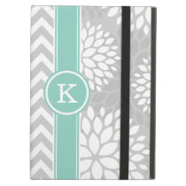 Gray and Aqua Monogram Chevron and Floral iPad Air Case