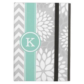 Gray and Aqua Monogram Chevron and Floral iPad Air Case