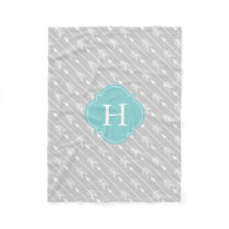 Gray and Aqua Monogrammed Arrows Pattern Fleece Blanket