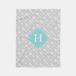 Gray and Aqua Monogrammed Arrows Pattern Fleece Blanket