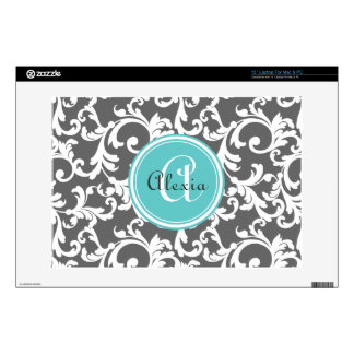 "Gray and Aqua Monogrammed Damask Print 13"" Laptop Decal"
