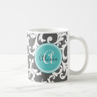 Gray and Aqua Monogrammed Damask Print Classic White Coffee Mug