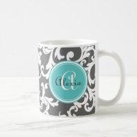 Gray and Aqua Monogrammed Damask Print Coffee Mug
