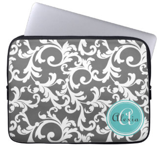 Gray and Aqua Monogrammed Damask Print Computer Sleeve