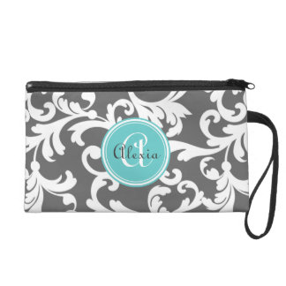 Gray and Aqua Monogrammed Damask Print Wristlet