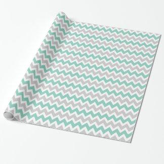 Gray and Aqua Zigzag Chevron Stripes Wrapping Paper