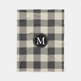 Gray and Beige Buffalo Check Monogram Fleece Blanket