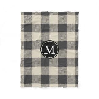 Gray and Beige Buffalo Check Monogram Fleece Blanket