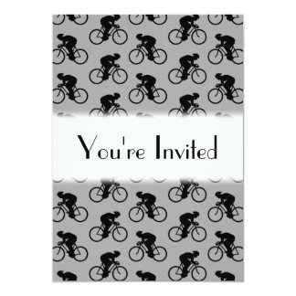 Gray and Black Bicycle Pattern. 5x7 Paper Invitation Card