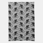 Gray and Black Bicycle Pattern. Kitchen Towels