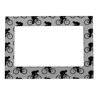 Gray and Black Bicycle Pattern. Magnetic Frame