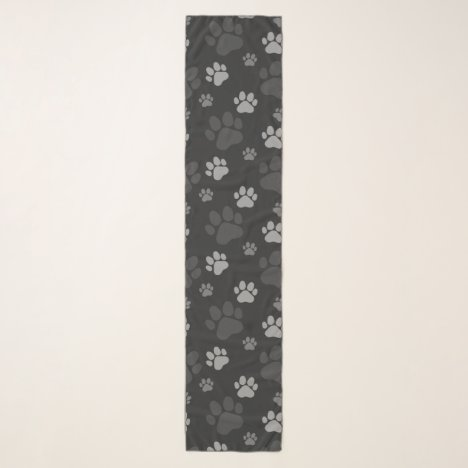Gray and Black Cat Paw Pattern Scarf