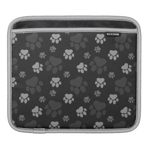Gray and Black Cat Paw Print Pattern iPad Sleeve
