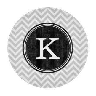 Gray and Black Chevron Custom Monogram Cutting Board