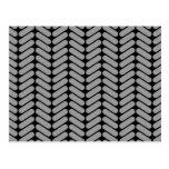 Gray and Black Chevron Pattern. Postcard