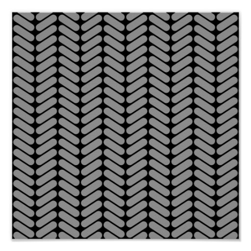 Gray and Black Chevron Pattern. Print
