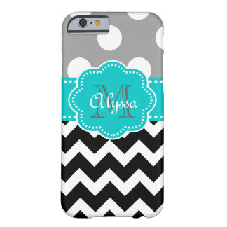 Gray and Black Chevron Teal Phone Case Barely There iPhone 6 Case