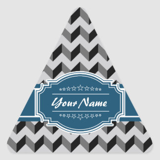 Gray and Black Chevron with Navy Personalized Name Triangle Sticker