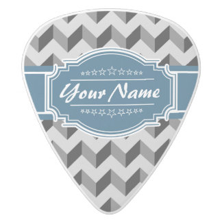 Gray and Black Chevron with Navy Personalized Name White Delrin Guitar Pick