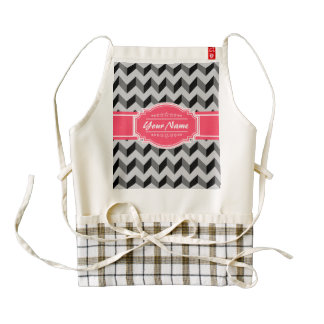 Gray and Black Chevron with Pink Personalized Name Zazzle HEART Apron