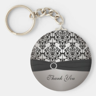 Gray and Black Damask Keychain