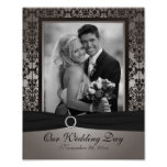 Gray and Black Damask Photo Frame Insert Print