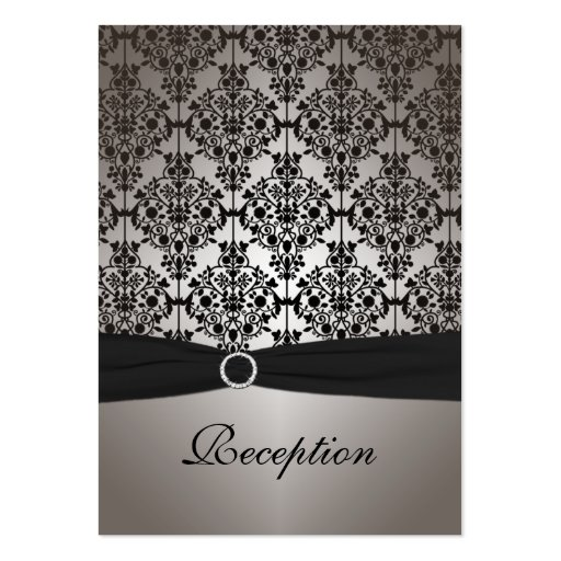 Gray and Black Damask Reception Card Business Card Template