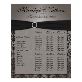 Gray and Black Damask Reception Seating Chart Poster