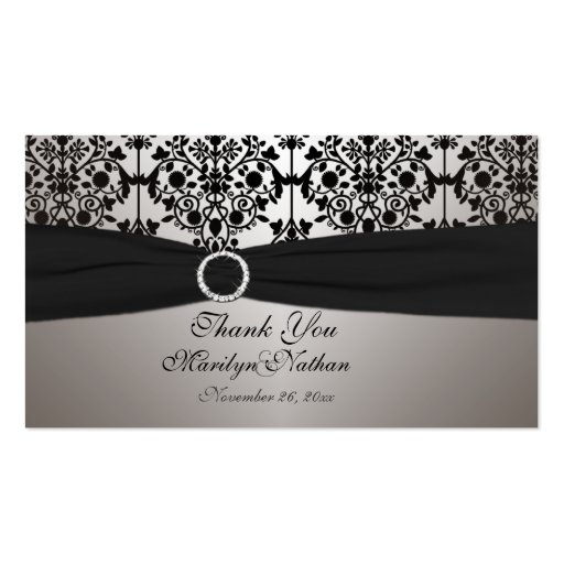 Gray and Black Damask Wedding Favor Tag Business Cards