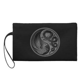Gray and Black Dragon Phoenix Yin Yang Wristlet Clutches