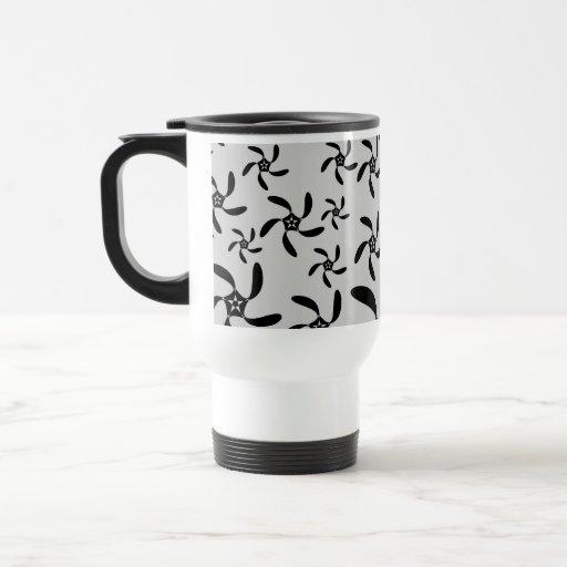 Gray and Black Futuristic Floral Design. Coffee Mug