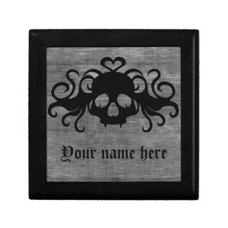 Gray and black goth fanged vampire skull jewelry box