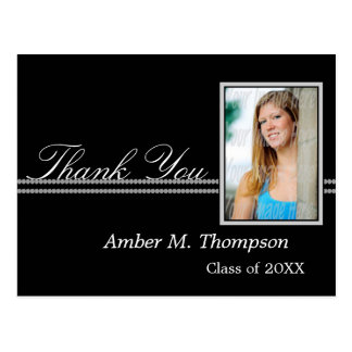 Gray and Black Graduation Thank You Photo Postcard