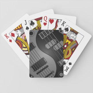 Gray and Black Guitar and Bass Yin Yang Poker Cards