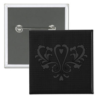 Gray And Black Heart Damask Pinback Button