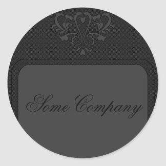 Gray And Black Heart Damask Classic Round Sticker