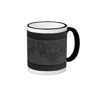 Gray And Black Heart Damask Ringer Mug