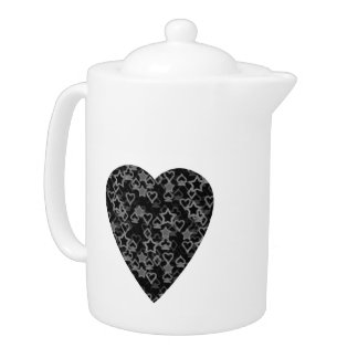 Gray and Black Heart. Patterned Heart Design.