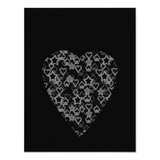 Gray and Black Heart. Patterned Heart Design. Card