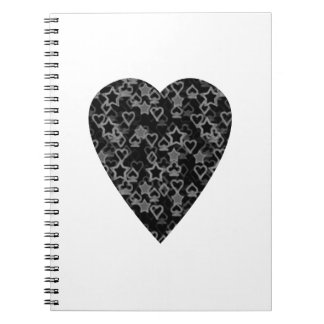 Gray and Black Heart. Patterned Heart Design. Spiral Notebooks