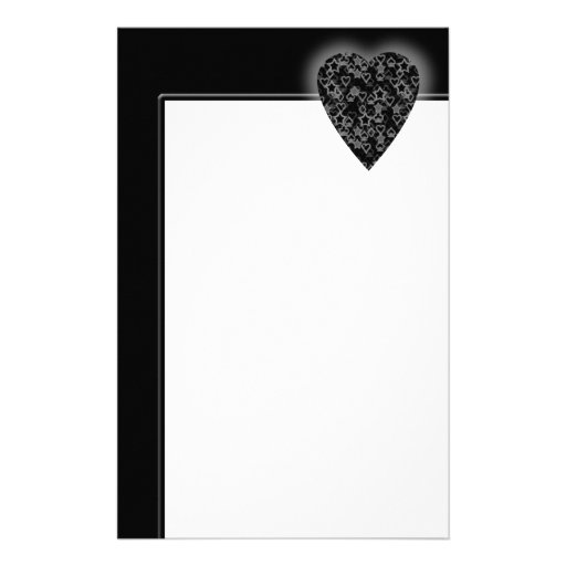 Gray and Black Heart. Patterned Heart Design. Stationery