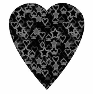 Gray and Black Heart. Patterned Heart Design. Statuette