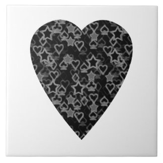 Gray and Black Heart. Patterned Heart Design. Tile