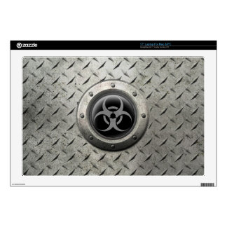 "Gray and Black Industrial Biohazard Steel Effect 17"" Laptop Skin"