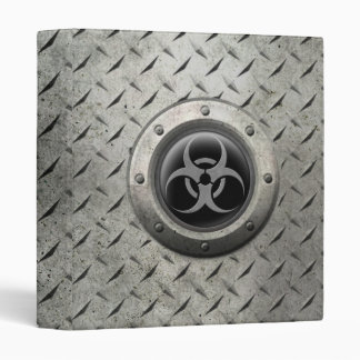 Gray and Black Industrial Biohazard Steel Effect 3 Ring Binder